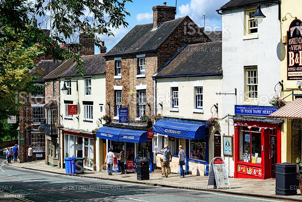 The High Street in Ironbridge, Shropshire stock photo
