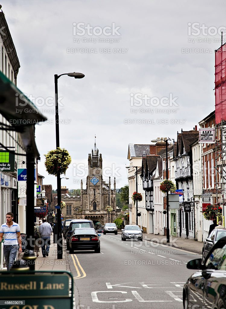 The High Street in Warwick, England stock photo