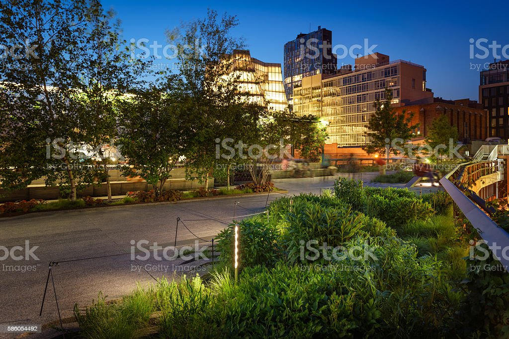 The Highline at twilight, Chelsea, Manhattan, New York City stock photo