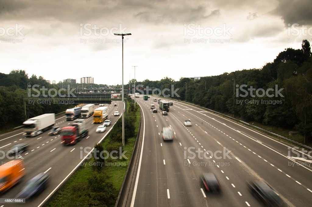 The highway around Antwerp with cars stock photo