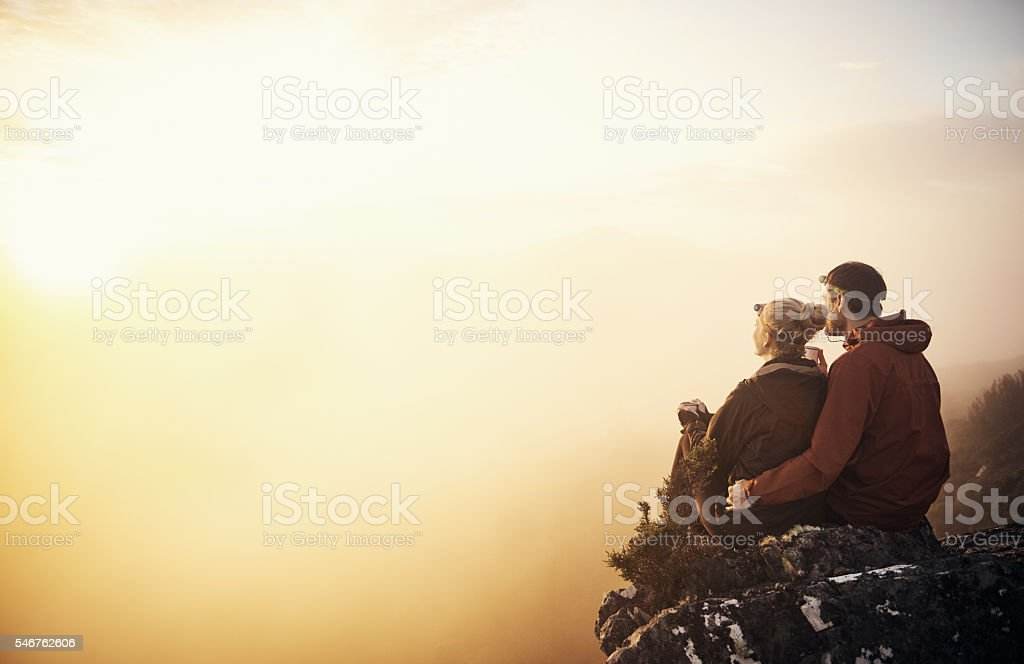 The hike was work it stock photo