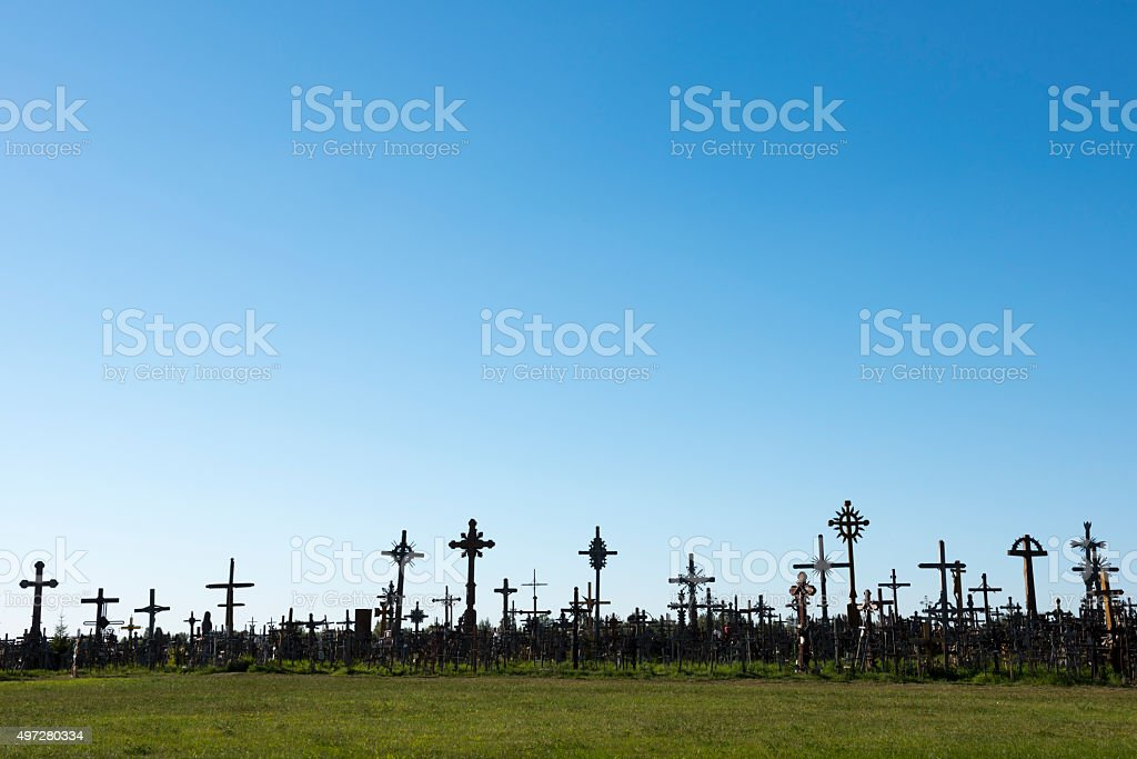 The Hill of Crosses in Lithuania stock photo