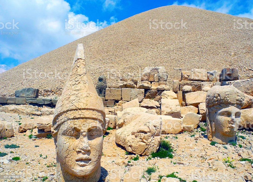 The hill on the Mount Nemrut. stock photo