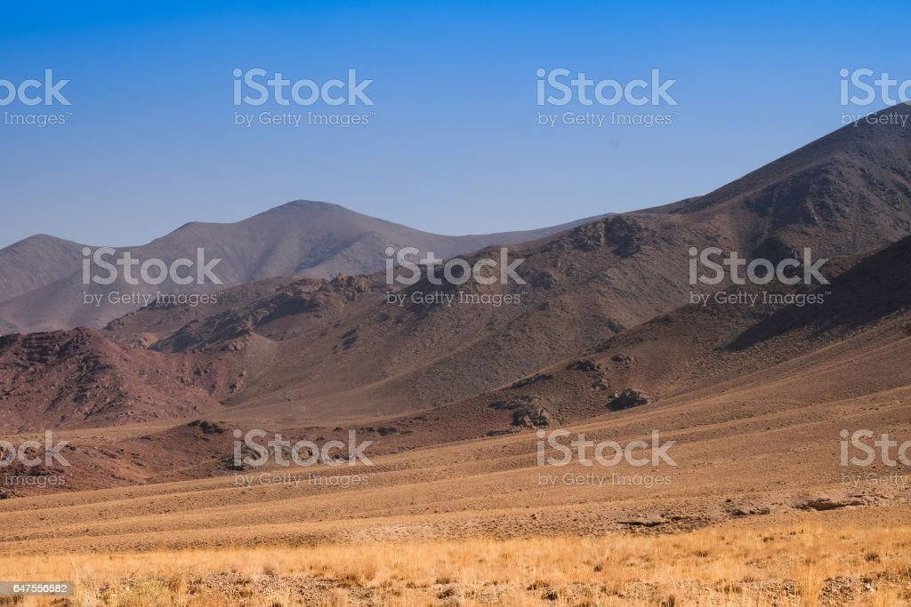 The hill opposit of abyaneh village stock photo