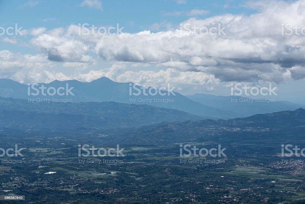 The hills and mountains of Alajuela in Costa Rica stock photo