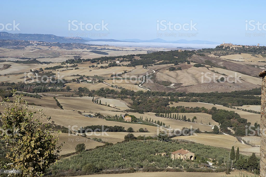 The hills around Pienza and Monticchiell royalty-free stock photo