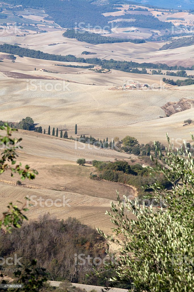 The hills around Pienza and Monticchiello stock photo