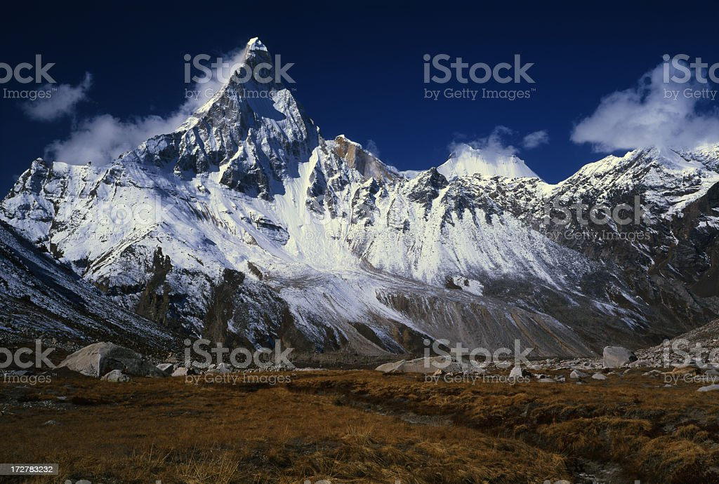 The Himalayas Garhwalu in India on a sunny day stock photo
