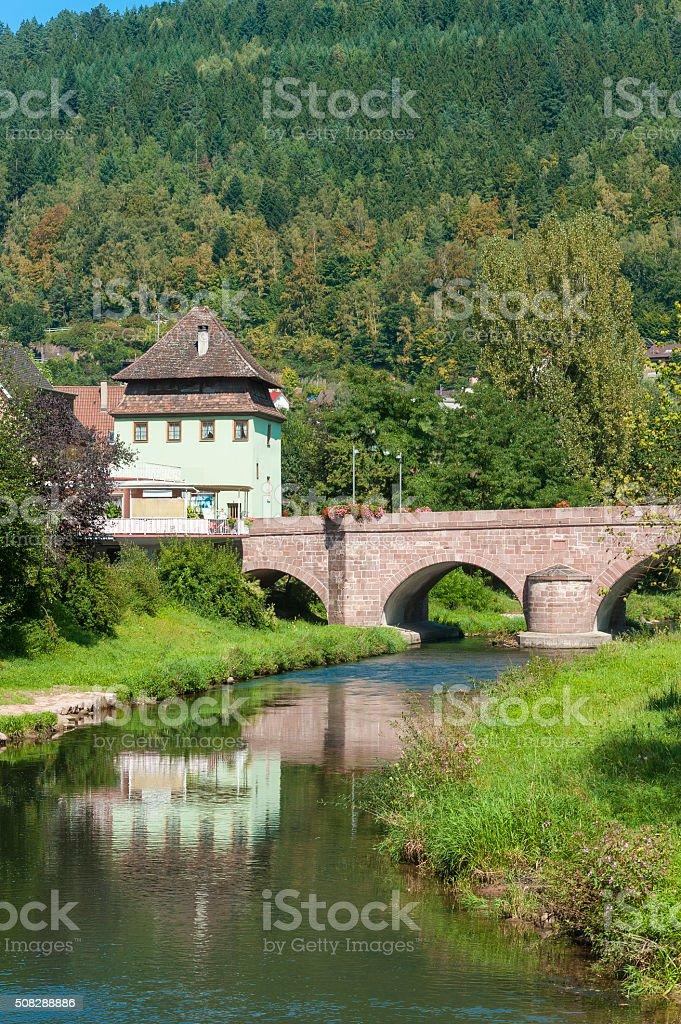 The Hirsauer bridge over the river Nagold in Hirsau stock photo