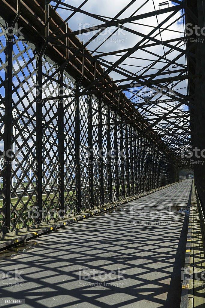 The historic bridge over  Vistula River in Tczew royalty-free stock photo