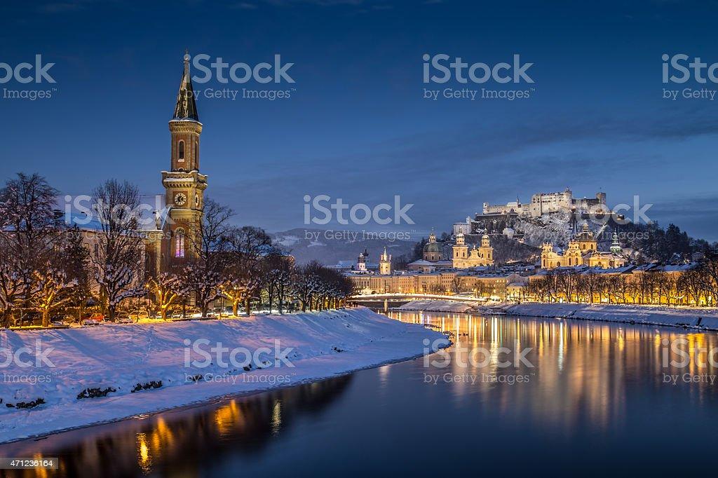 The historic, bright city of Salzburg, Austria at dusk stock photo