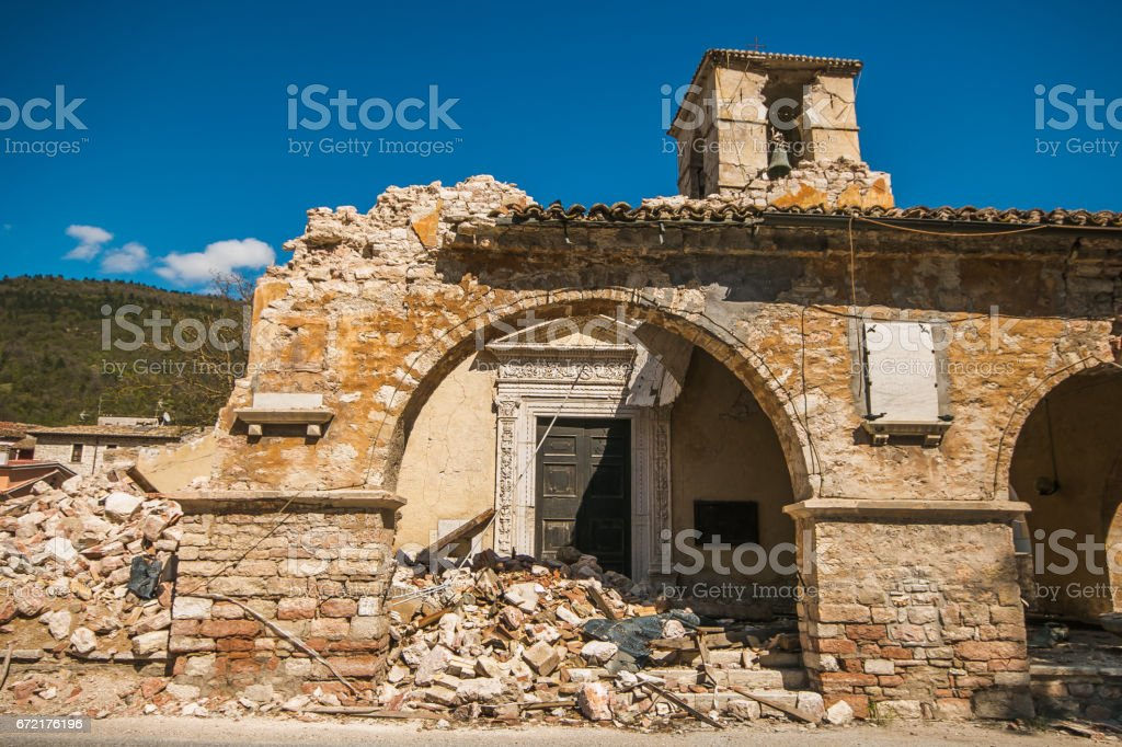 The historic center of Visso city after the earthquake stock photo