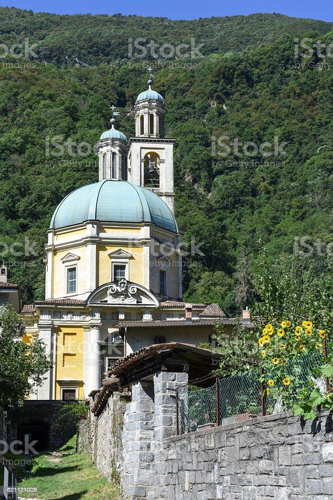 The historic church of Santa Croce at Riva San Vitale stock photo