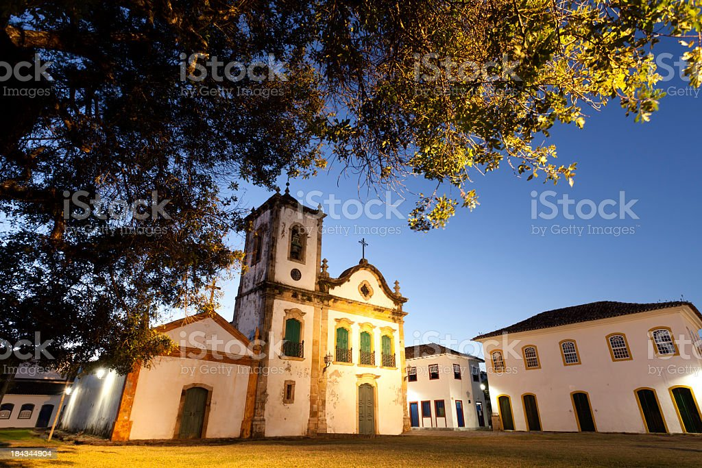 The historic city of Paraty against a blue sky stock photo