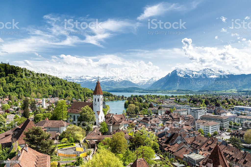 The historic city of Thun, in Bern in Switzerland. stock photo