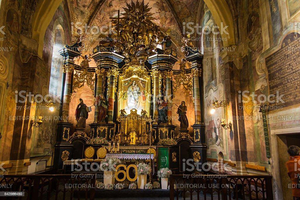 The historic convent,  Benedictine abbey in Staniontki, Poland. stock photo
