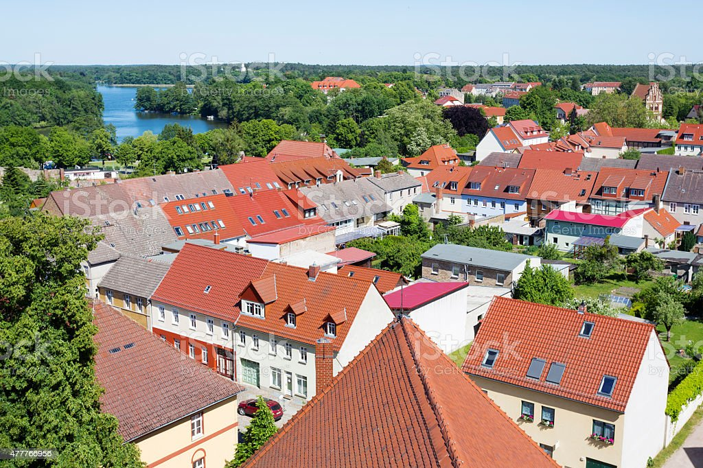 The historic old town of Templin, East Germany stock photo