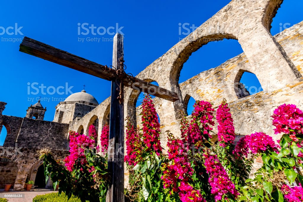 The Historic Old West Spanish Mission San Jose, Founded in 1720, San Antonio, Texas, USA. stock photo