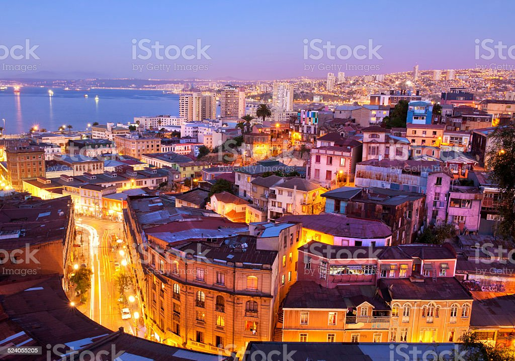 the historic quarter of Valparaíso, by night. stock photo
