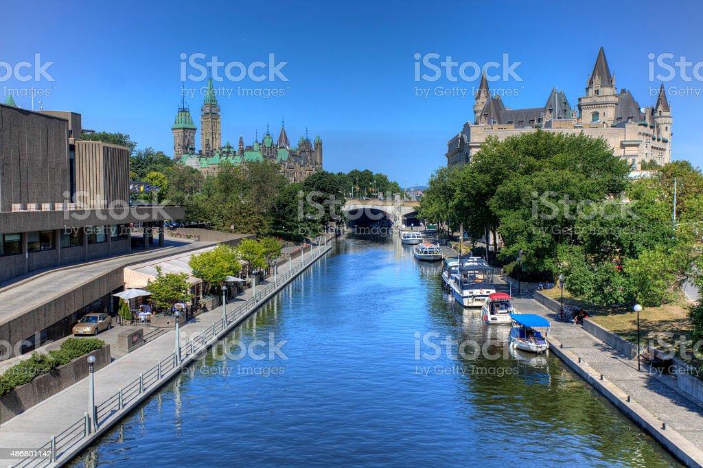The historic Rideau Canal, Ottawa, Canada stock photo