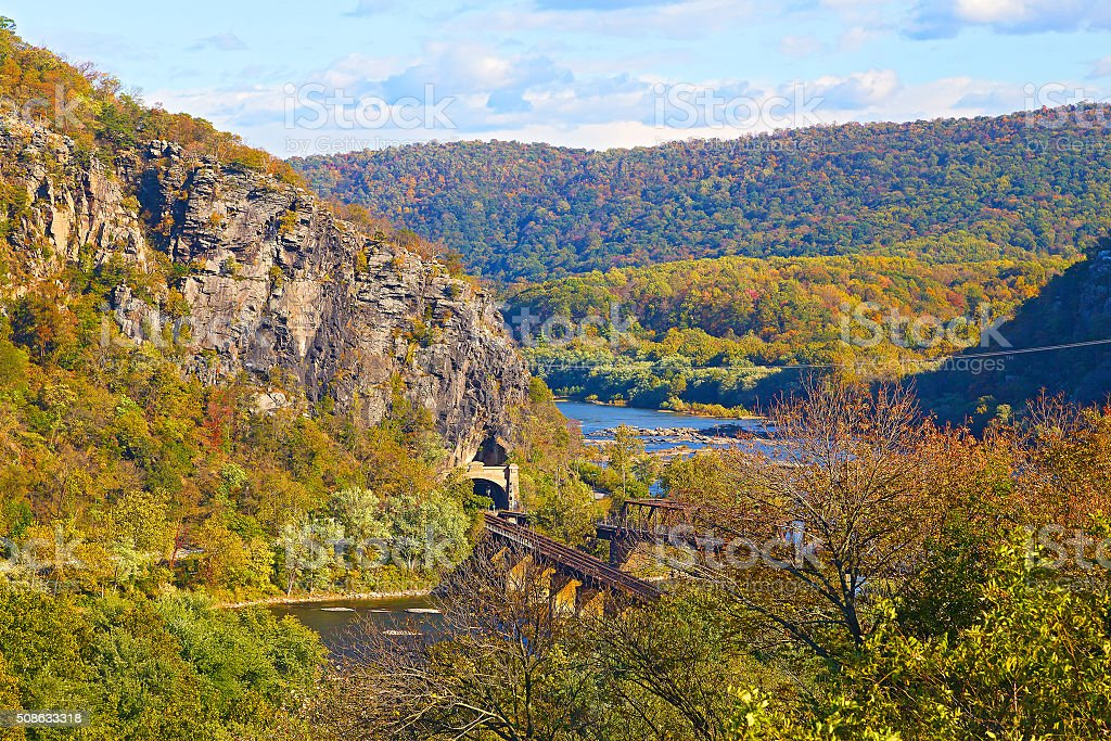 The historic town of Harpers Ferry in autumn. stock photo