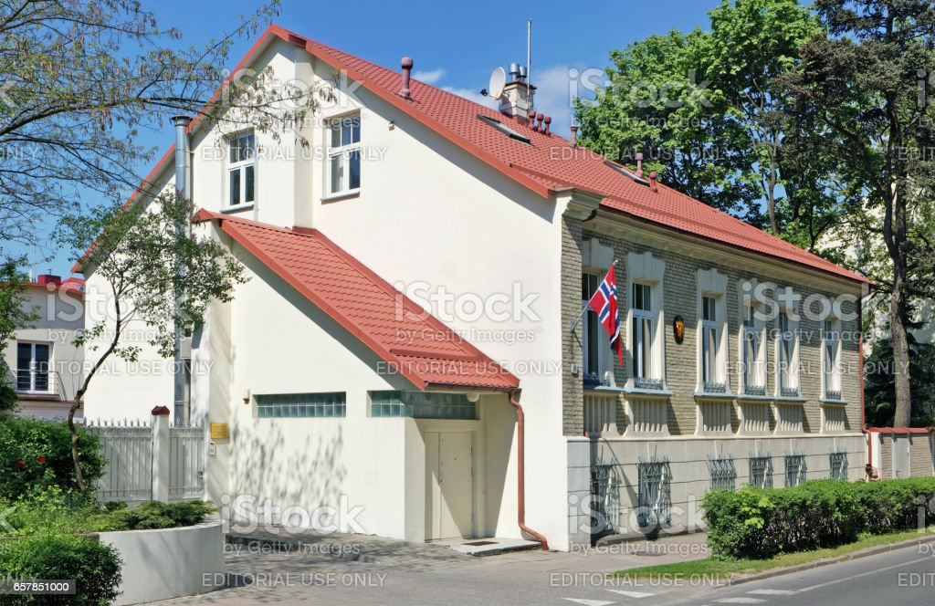 VILNIUS, LITHUANIA - MAY 12, 2016: The historical building of embassy of the Kingdom of Norway in the Republic of Lithuania is on Kalinausko Street. Sunny spring day landscape stock photo