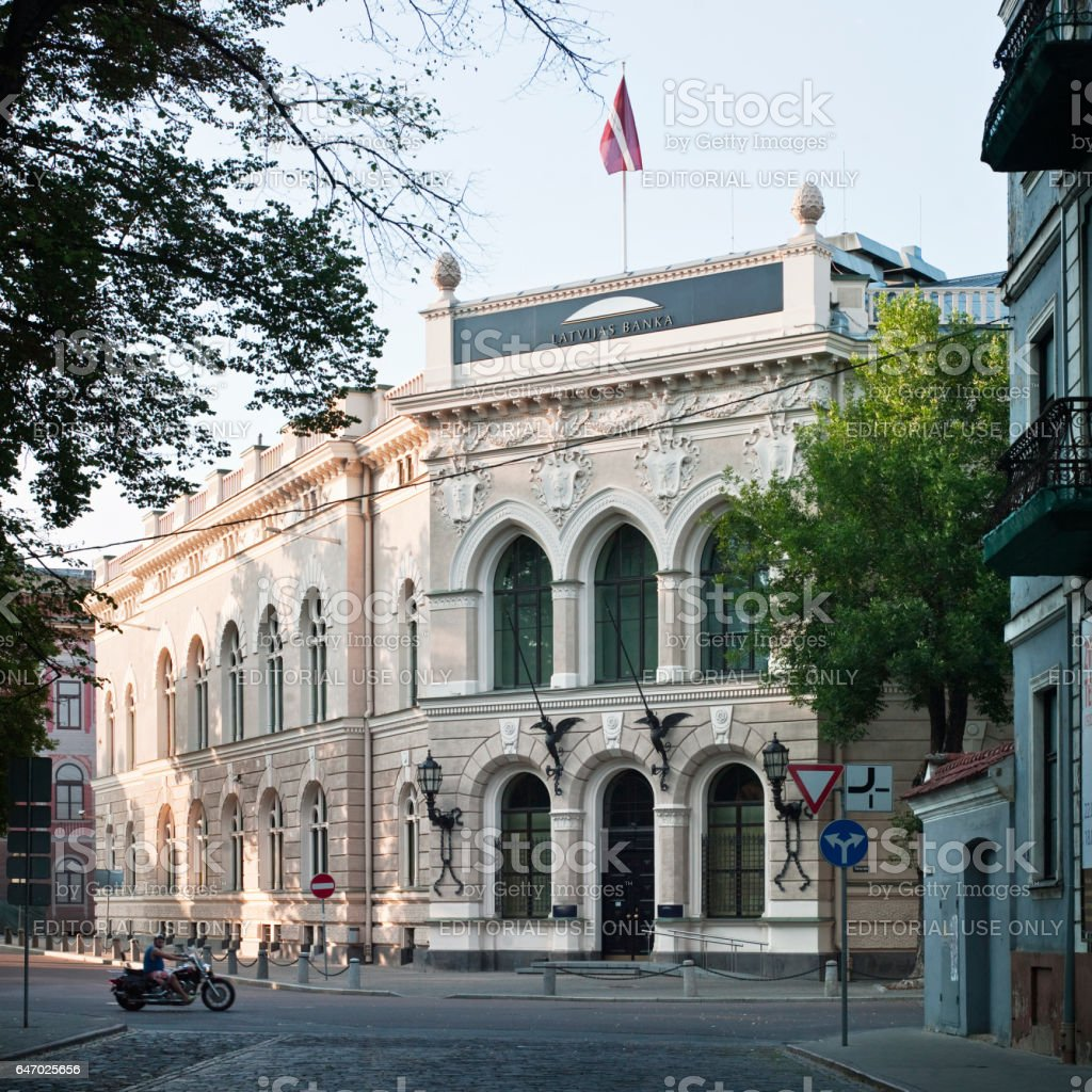The historical building of the Bank of Latvia stock photo