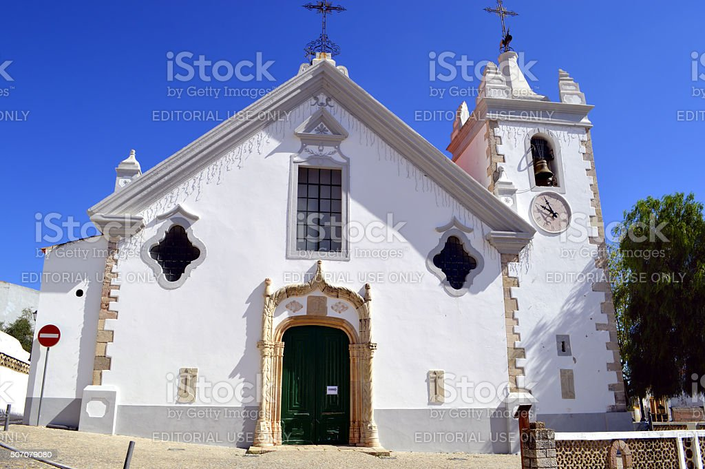 The historical church of Our Lady of the Assumption in Alte stock photo