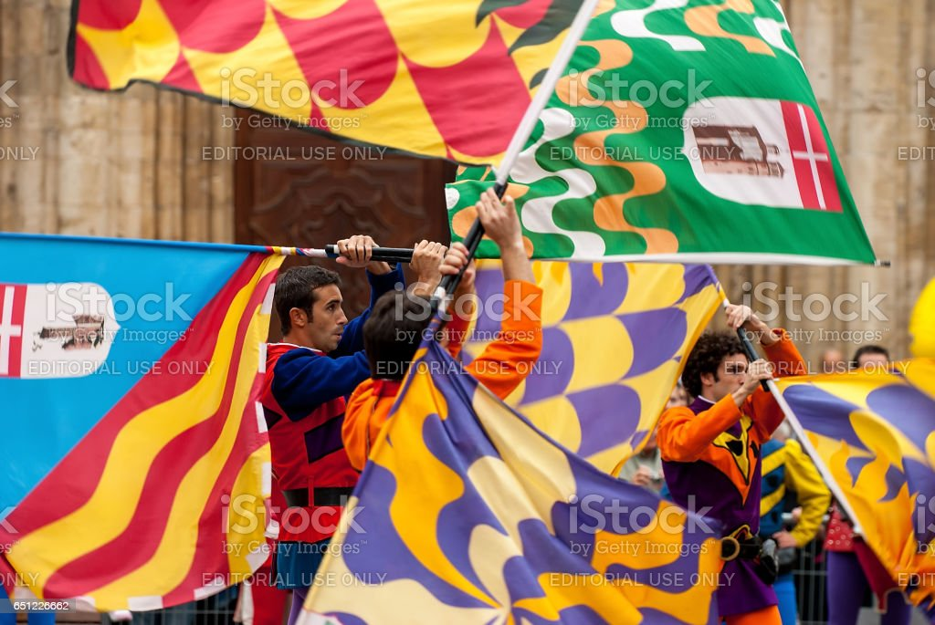 the historical Medieval parade of the Palio stock photo