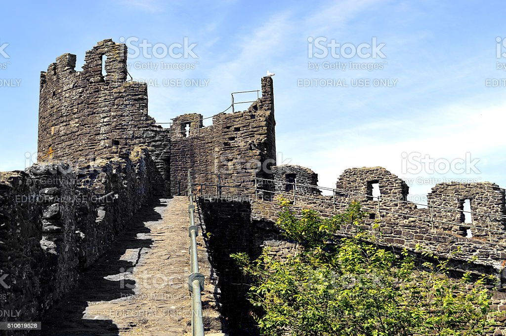 The historical medieval town wall surounding Conwy town stock photo