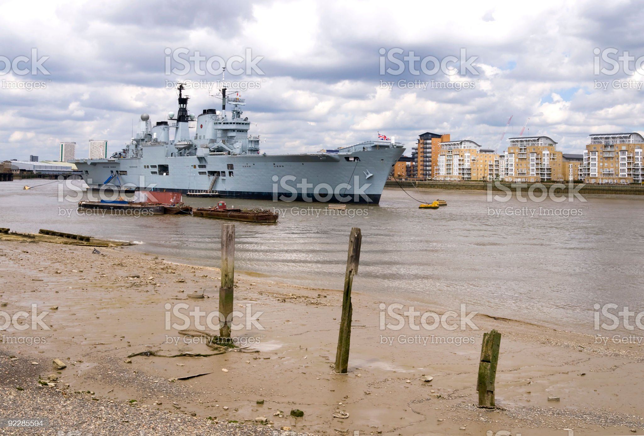 The 'HMS Ark Royal' aircraft carrier in River Thames, London royalty-free stock photo