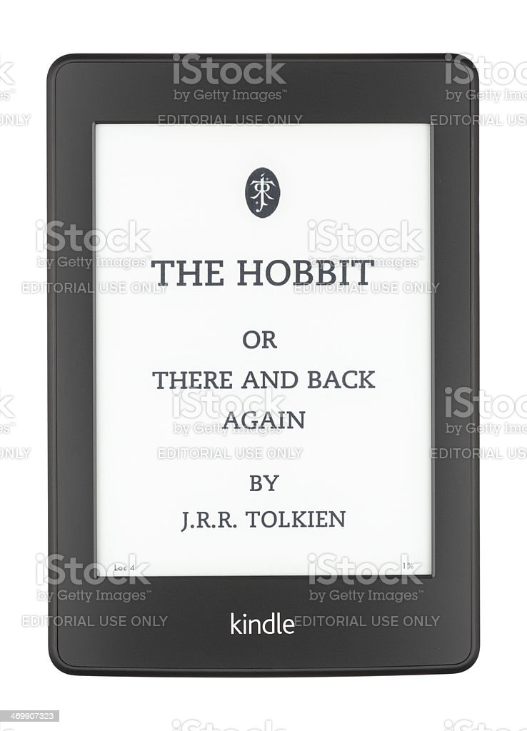 The Hobbit on a Kindle Paperwhite stock photo