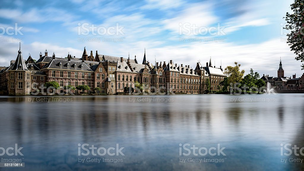 The Hofvijver lake and the Dutch parliament in Den Haag stock photo