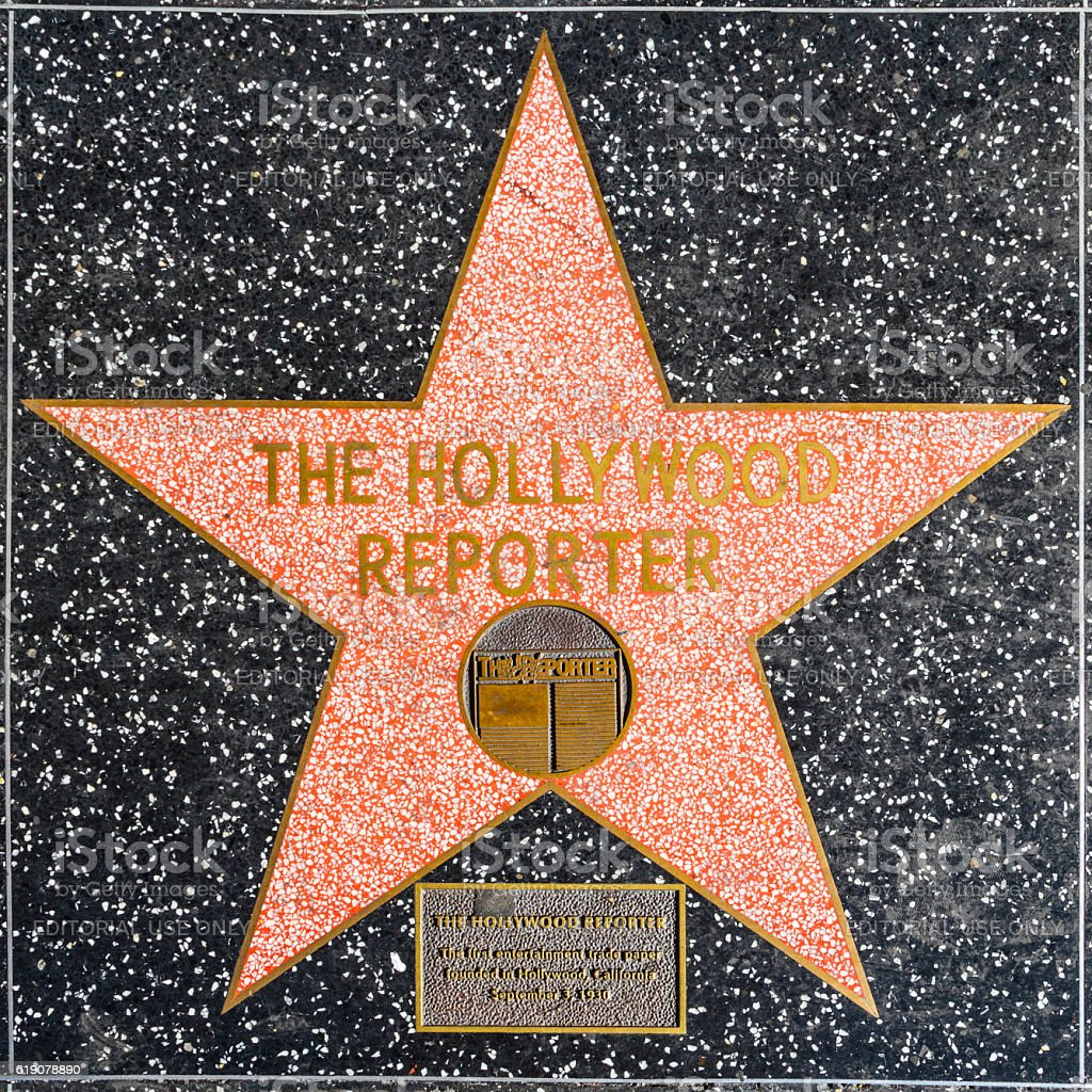The Hollywood reporter's star on Hollywood Walk of Fame stock photo