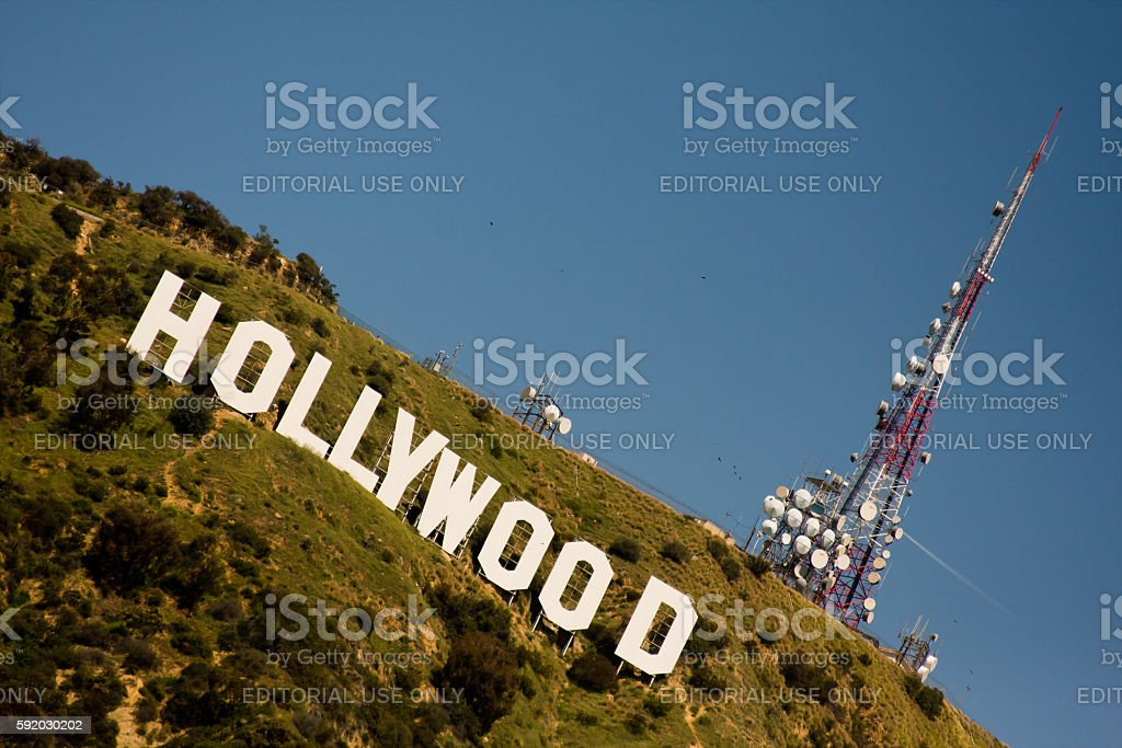 The Hollywood sign in the Los Angeles mountain stock photo