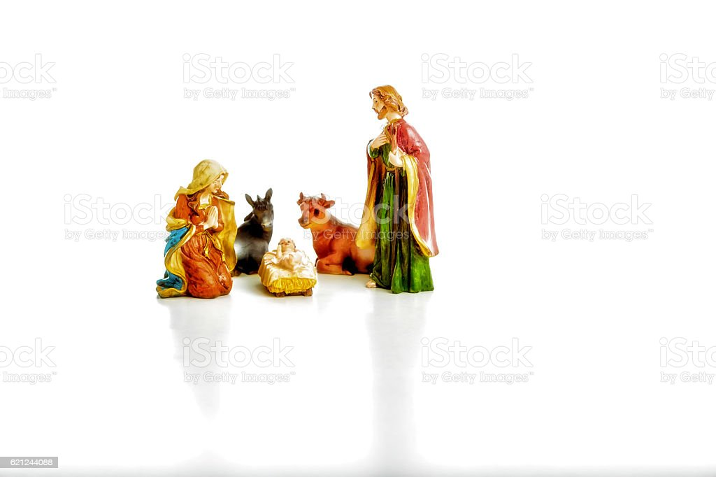 The Holy Family in a Christmas Crib stock photo