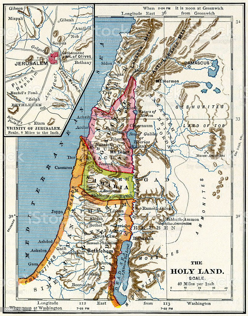 The Holy Land And Jerusalem Map 1883 stock photo