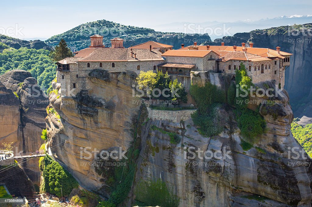 The Holy Monastery of Varlaam on the cliff at Meteora stock photo