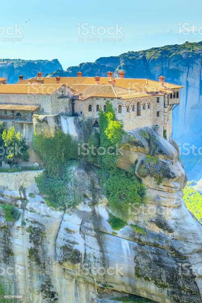 The Holy Monastery of Varlaam on the cliff at Meteora rocks, Greece stock photo