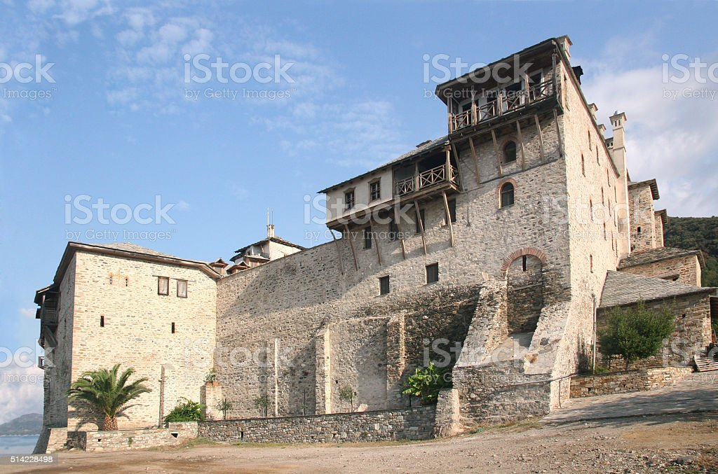 The Holy Monastery of Xenophontos stock photo