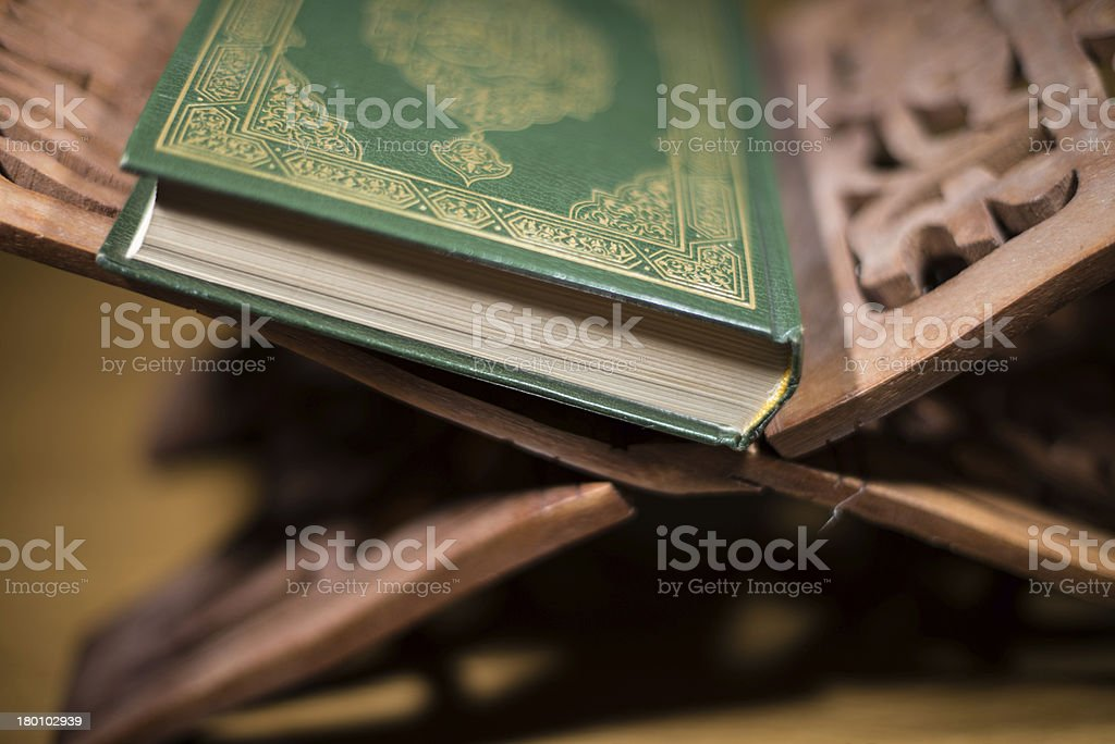 the holy quran book stock photo