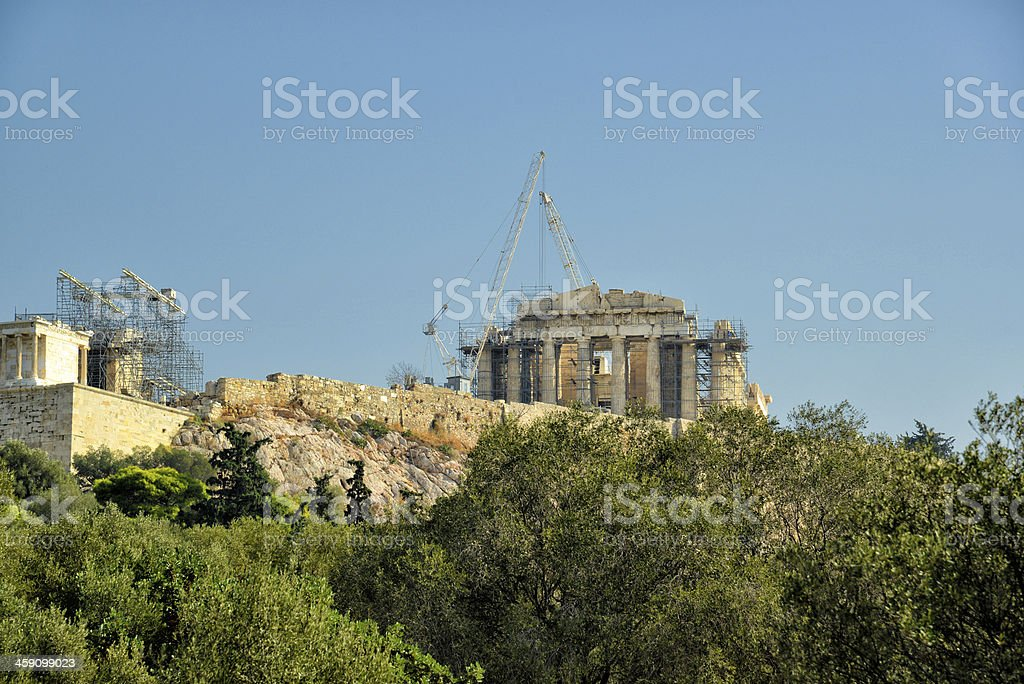 The Holy Rock of Acropolis Athens Greece stock photo