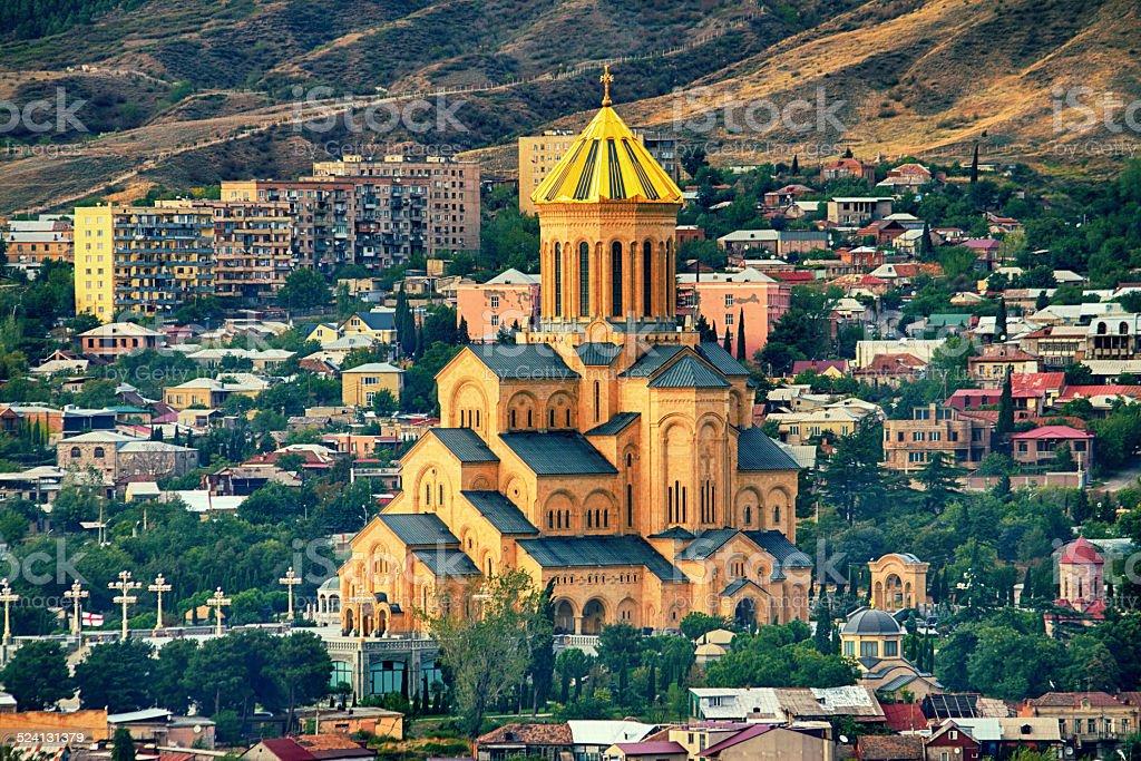 The Holy Trinity Cathedral Tsminda Sameba church in Tbilisi stock photo