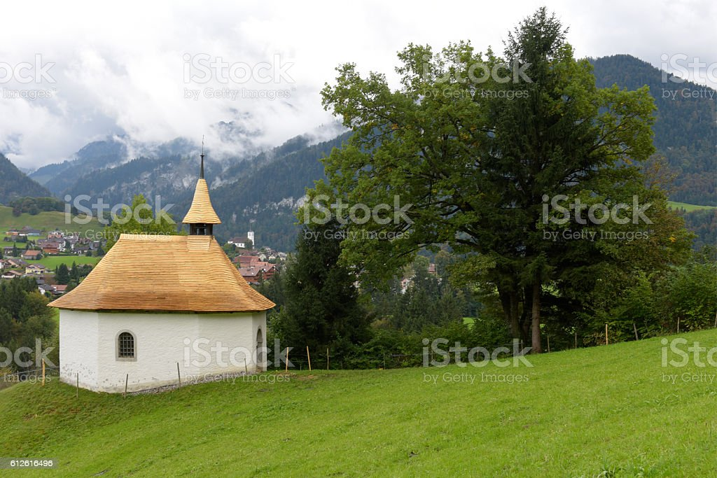 The Holy Trinity Chapel of Pelleys in Cerniat stock photo