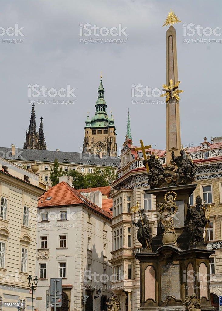 The Holy Trinity column in Prague stock photo