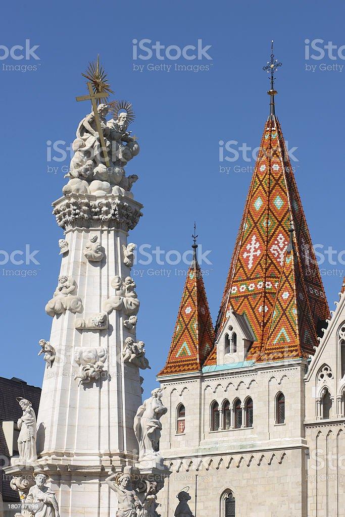 The Holy Trinity Column with Matthias Church stock photo