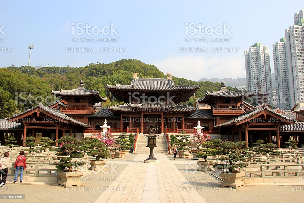 The Hong Kong Chi Lin Nunnery in Hong Kong stock photo