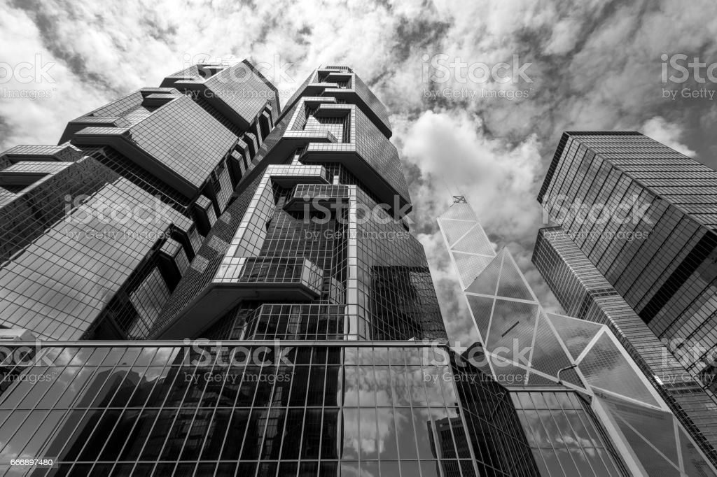 The Hong Kong Corporate Buildings (black and white) stock photo