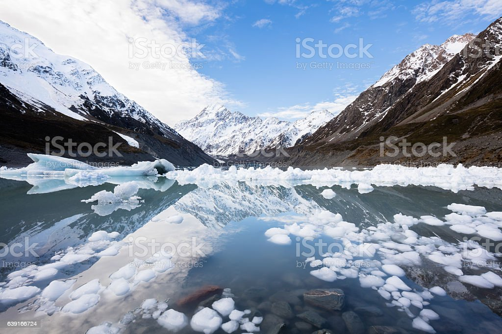 The Hooker glacial lake, South Island,New Zealand stock photo