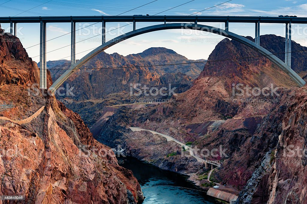 The Hoover Bridge from the Hoover Dam. stock photo